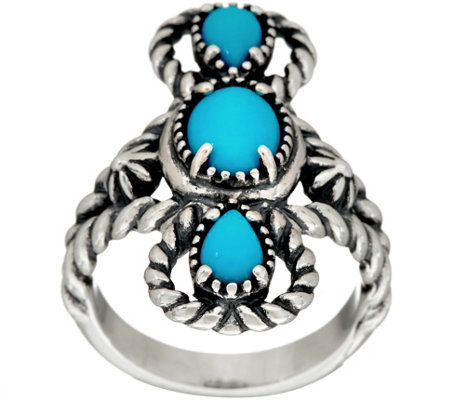 American West Sleeping Beauty Turquoise Three Stone Ring
