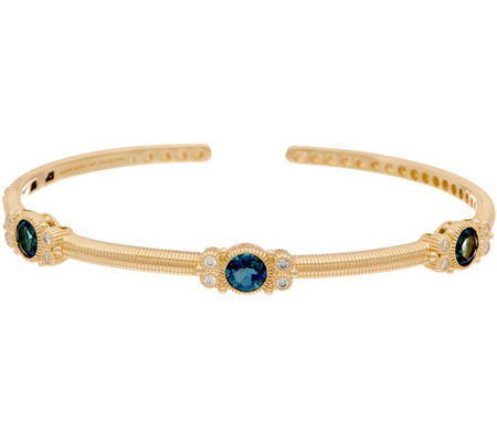 Judith Ripka 14k Gold London Blue Topaz & Diamond Cuff Bracelet
