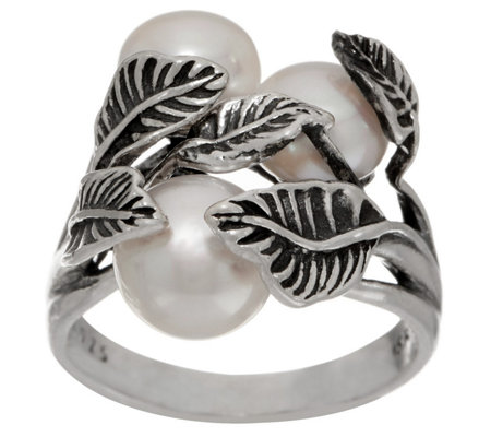 Or Paz Sterling Silver Triple Cultured Pearl Ring
