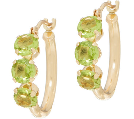 Petite Gemstone Polished Hoop Earrings 14K Gold