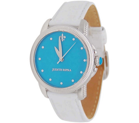 Judith Ripka Stainless Steel Turquoise Dial Watch