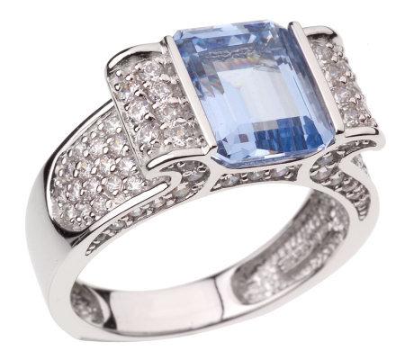 diamonique 4 90 ct tw emerald cut blue ring 14k white gold