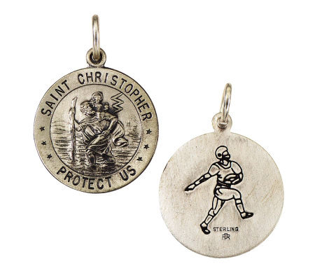 Sterling Saint Christopher /Football Medal charm