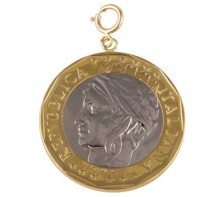 1000-Lire Coin Charm, 14K Gold