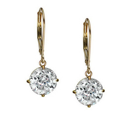 Diamonique 100 Facet 4 ct tw Lever Back Earring s, 14K Gold
