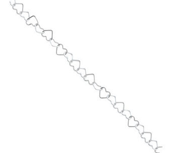 Sterling Alternating Fancy Heart Link Anklet - J111372