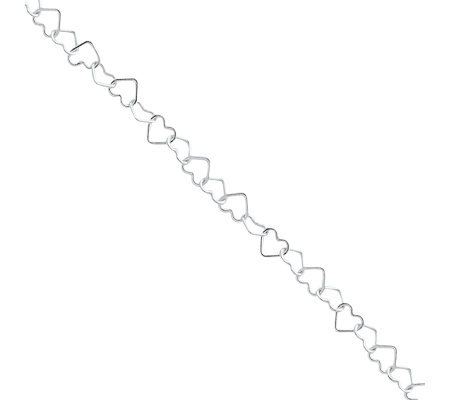 Sterling Alternating Fancy Heart Link Anklet