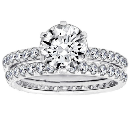 Diamonique 2.90 cttw 2 Piece Round Ring Set, Platinum Clad