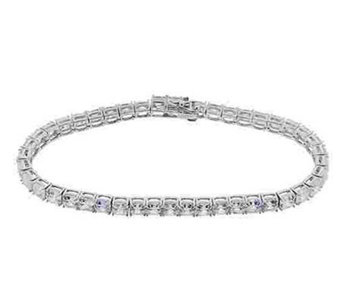 Diamonique Asscher Cut Tennis Bracelet, Platinum Clad - J112972
