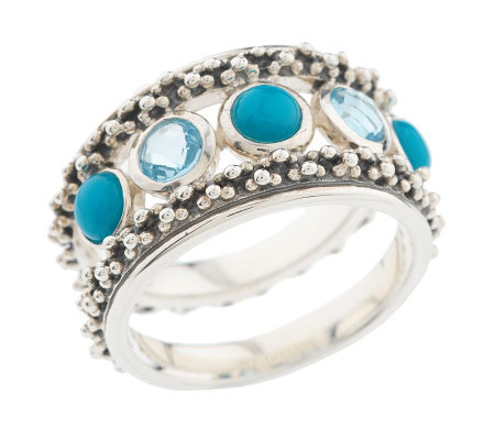 Michael Dawkins Sterling Turquoise & Blue Topaz Band Ring