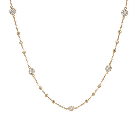 Diamonique Sterling or 14K Gold Clad Station & Bead Necklace