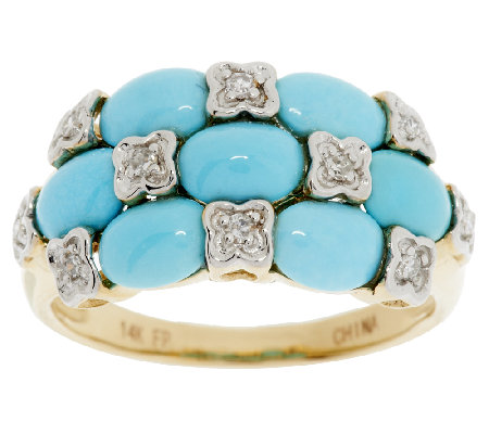 Sleeping Beauty Turquoise & Diamond Band Ring 14K Gold
