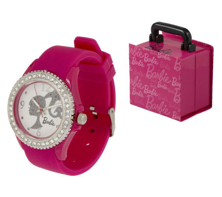 Barbie Silicone Strap Watch with Crystal Bezel