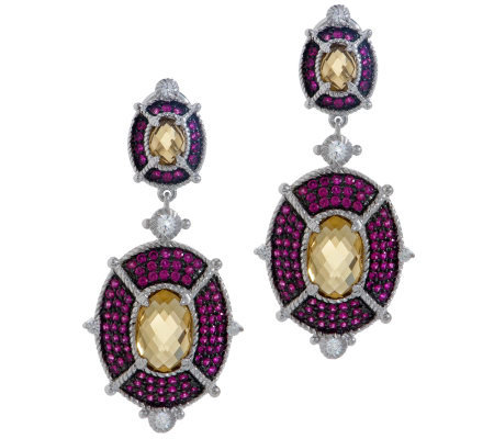 Judith Ripka Sterling 8.50ct Gemstone and Diamonique Drop Earrings