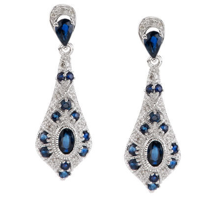 1.50 ct tw Sapphire & Diamond Sterling Dangle Earrings