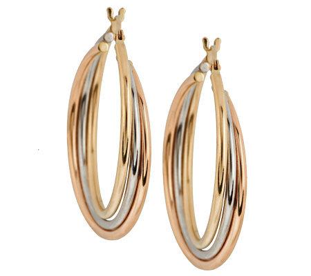 Eternagold Tri Color Triple Hoop Earrings 14k Gold