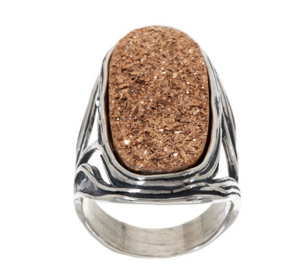 Or Paz Sterling Drusy Quartz Elongated Ring