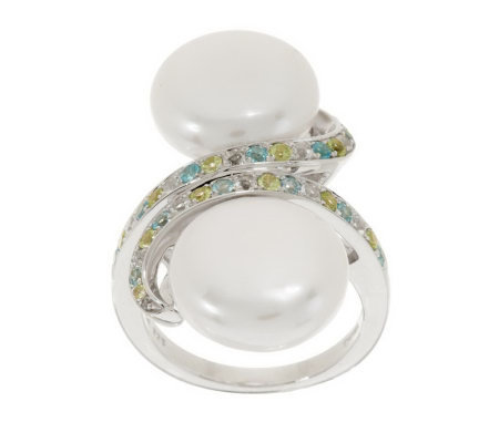 Honora Cultured Pearl Coin and Gemstone Bypass Sterling Ring