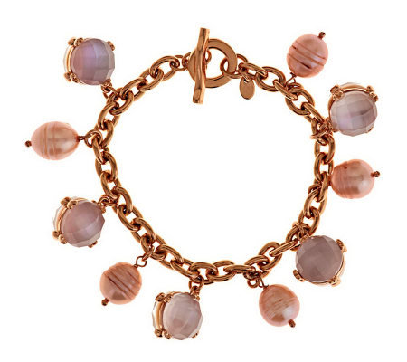 "Honora Cultured Pearl 7-1/4"" Reversible Bronze Charm Bracelet"