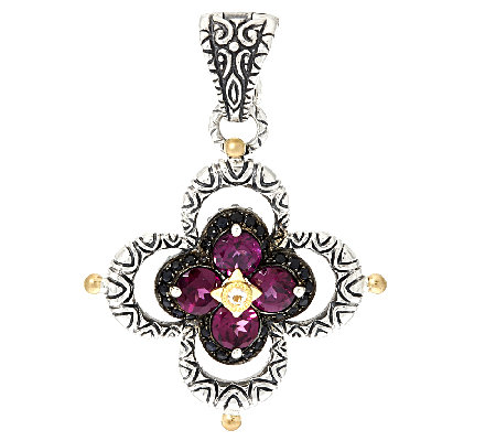 Barbara Bixby Sterling & 18K Garnet & Black Sapphire Flower Enhancer