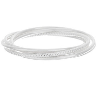 UltraFine Silver Polished Small Set of 5 Rolling Bangles 28.7g - J286272