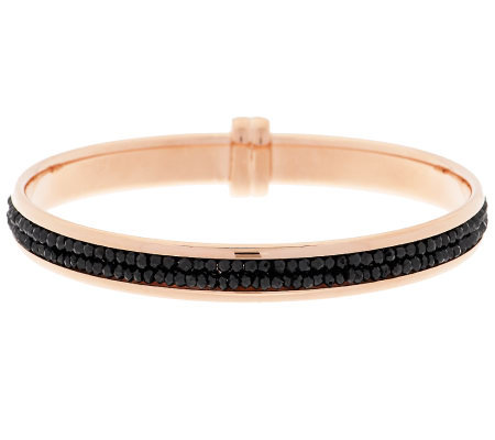 Bronze Black Spinel Faceted Bead Inlay Round Bangle by Bronzo Italia