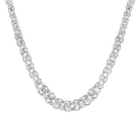 "UltraFine Silver 18"" Graduated Byzantine Necklace, 22.3g"