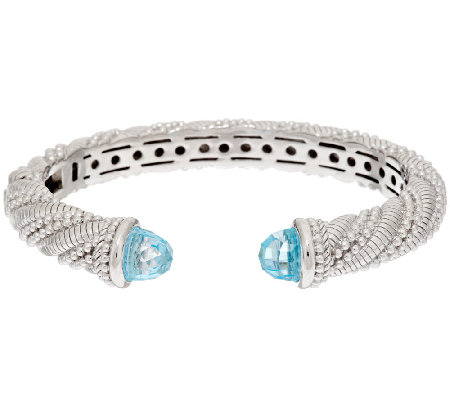 Judith Ripka Sterling 8.50 ct tw Sky Blue Topaz Hinged Cuff