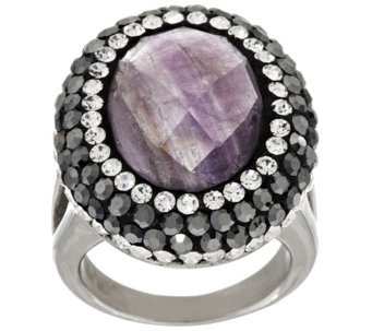 Stainless Steel Faceted Gemstone and Crystal Ring - J296372