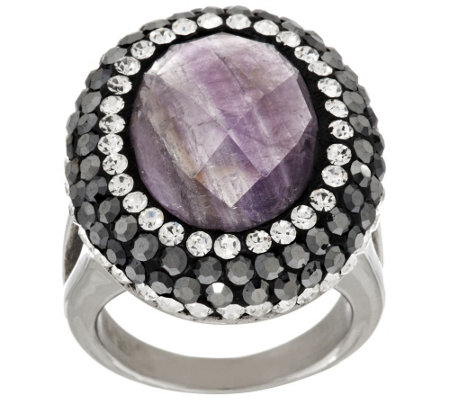 Stainless Steel Faceted Gemstone and Crystal Ring