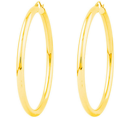 "Polished 2-3/8"" Round Hoop Earrings, 14K"