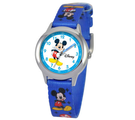 Disney Kids Mickey Mouse Time Teacher StainlessWatch