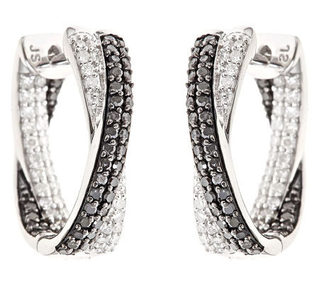 Black & White Diamond Hoop Earrings, Sterling 1ct by Affinity