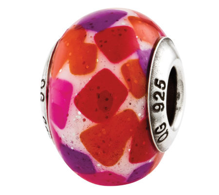 Prerogatives Sterling Pink Purple Italian Murano Glass Bead