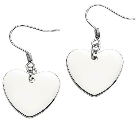 Steel by Design Polished Heart Dangle Earrings
