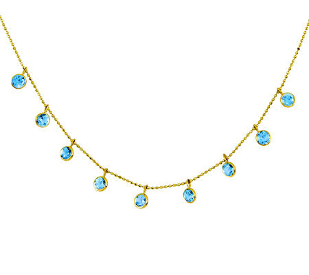 "16"" Blue Topaz Diamond-Cut Beaded Necklace, 14KGold"