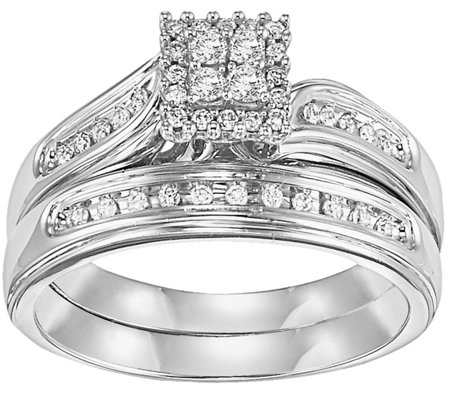 Affinity Diamond 1/4 ct tw Square Cluster  RingSet, 14K