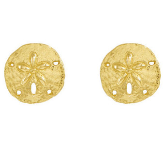 Polished Sand Dollar Stud Earrings, 14K Gold - J313772