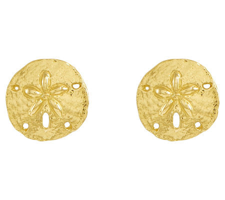 Polished Sand Dollar Stud Earrings, 14K Gold