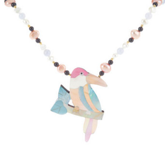 "Lee Sands Parrot Inlay Pendant on 20"" Beaded Necklace - J313872"