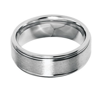 Stainless Steel 8mm Grooved Edge Brushed & Polished Ring - J314272