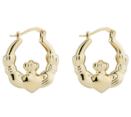 Solvar Claddagh Earrings, 14K Gold