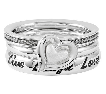 Simply Stacks Sterling Live Laugh Love Ring Set