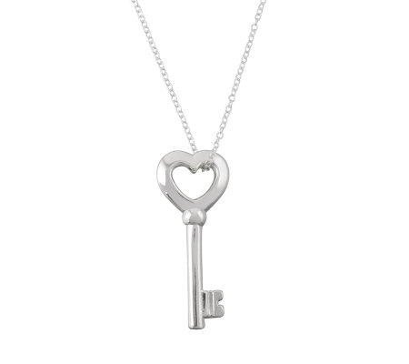 UltraFine Silver Heart Key Pendant w/Chain