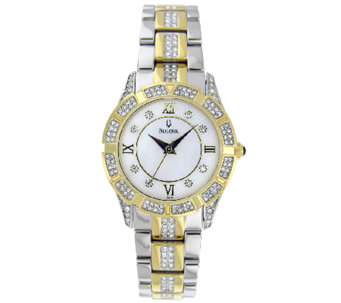 Bulova Ladies Two-Tone Crystal Accented Bracelet Watch - J316372