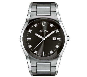 Bulova Men's Stainless Steel & Diamond BraceletWatch - J316472