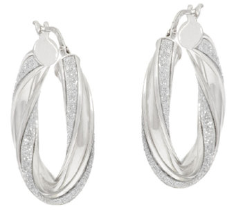 "Vicenza Silver Sterling 1"" Pave' Glitter Twisted Oval Hoop Earrings - J317272"