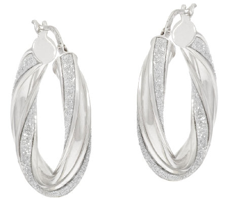 "Vicenza Silver Sterling 1"" Pave' Glitter Twisted Oval Hoop Earrings"