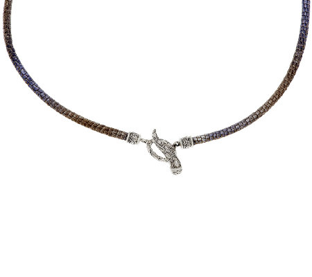 "JAI 16"", 18"" or 20"" Sterling & Ombre Leather Toggle Necklace"