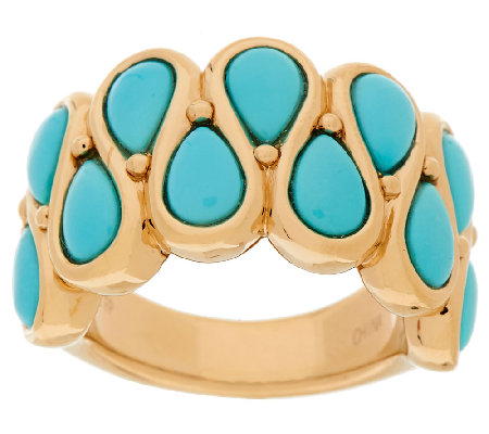 Sleeping Beauty Turquoise Pear Shaped Bold Band Ring, 14K